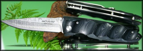 MC-0012D  VG-10 core 33 layered Nickel Damascus Blade, Black Micarta, Integral Pocket clip.jpg