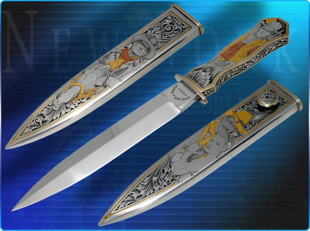 Rapp's Steven California Fixed Blade Dagger ''4 Decades of John Wayne'' features steal sheath and handles beautifully engraved by Jon Robyn..jpg