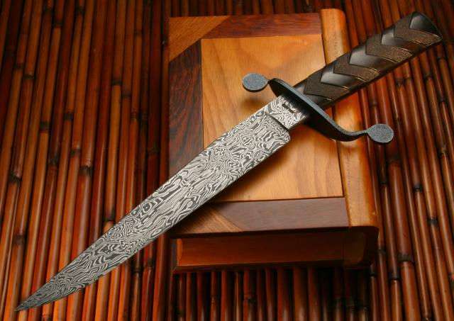 Ed Caffery, MS. Winter Thaw. S-Guard Carved Damascus Bowie Knife.jpg